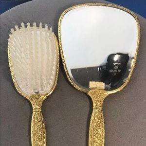 Vintage Beautiful Mirror and Matching Brush/24K GP